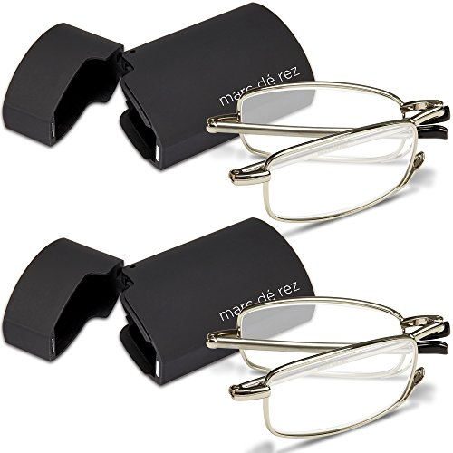 - Marc De Rez Foldable Reading Glasses +1.50-2 Pack - Mini Flip Top Cases - Silver Folding Prescription Readers For Men and Women
