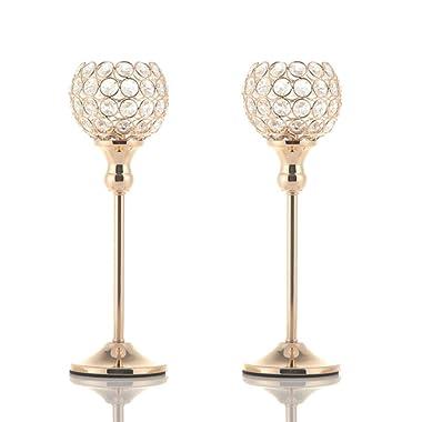 VINCIGANT Gold Crystal Votive Pair Candle Holders for Wedding Anniversary Celebration Modern Centerpieces, Set of 2
