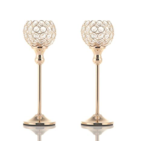Excellent Vincigant Gold Crystal Candlestick Holders Set Of 2 For Home Decor Coffee Table Centerpieces Wedding Party Decoration Download Free Architecture Designs Grimeyleaguecom