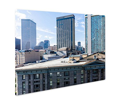 Ashley Giclee Metal Panel Print, Downtown New Orleans Louisiana On Canal Street Aerial, Wall Art Decor, Floating Frame, Ready to Hang 16x20, - Street Bourbon To Canal Street