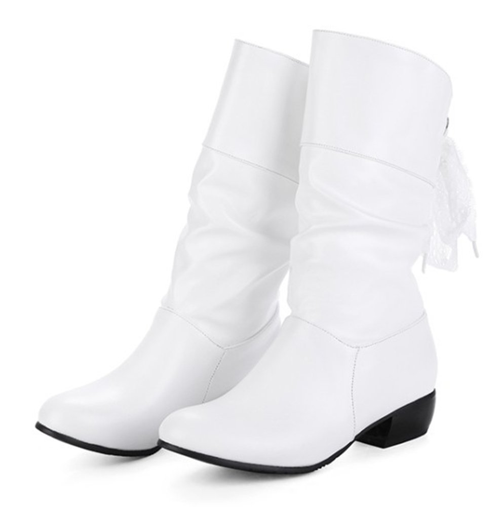 Aisun Women's Casual Laces Round Toe Ruched Pull On Block Low Heel Mid Calf Slouchy Boots (White, 8.5 B(M) US) by Aisun (Image #3)