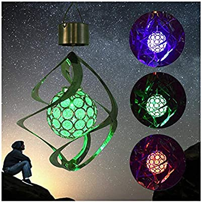 Garden Patio Outdoor Solar Hanging LED Wind Spinning Colour Changing Ball Lights