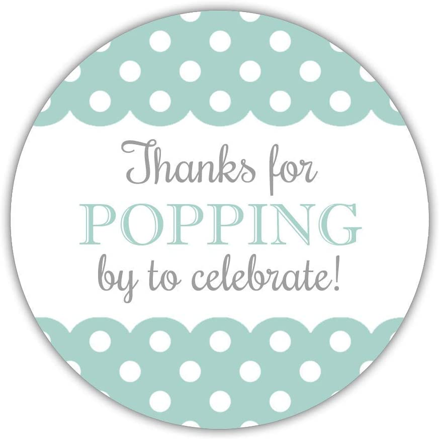 Peach 2 inches 40 Thanks for Popping by to Celebrate with us Stickers Baby Shower Popcorn Labels