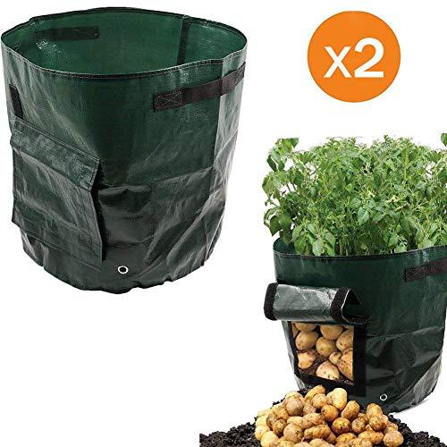 Potato Grow Bags, 2X 7 Gallon Plant Growing Bag with Flap & Handles, Planter for Grow Vegetables: Potato, Carrot, Tomato, Onion ()