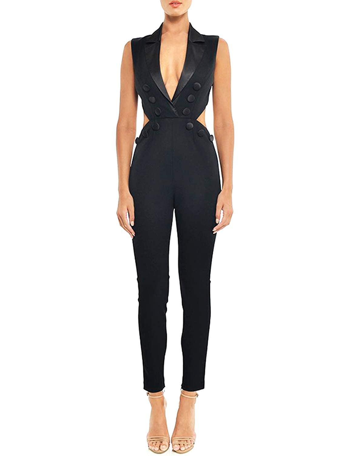 Black Sunlen Black VNeck Women Backless Sleeveless Long Jumpsuit Clubnight Party Skinny Cut Out SL1BH5827