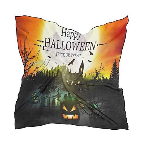 Silk Scarf Happy Halloween Castle Pumpkin Square Headscarf 23 x 23 inches for Women/Girls -