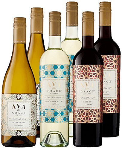 AVA Grace Vineyards California Red & White Wine Mixed Pack, 6 x 750 mL