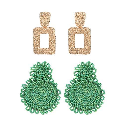 Green Lucite Bead Necklace - MERTH Gold Geometric Earrings - Beaded Bohemian Earrings Bead Round Drop Dangle Statement Earrings, 70s 80s Earrings For Women, Add Necklace 1 pcs. (green)