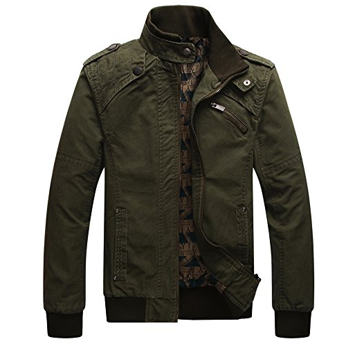 Dwar Men's Casual Long Sleeve Full Zip Jacket with Shoulder Straps (Large, Deep Army Green)