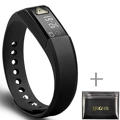 EFOSHM Health Wireless Activity Sleep Monitor Pedometer Smart Fitness Tracker Wristband Watch Bracelet for Men Women Boys Girls Ladies Man Iphone Sumsung HTC, With Card Case
