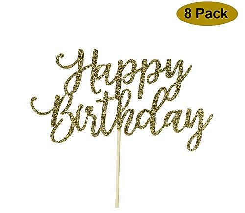 8 Pack Happy Birthday Cake Topper, 1st First Happy Birthday