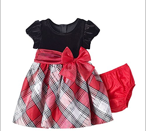 Bonnie Baby Baby Girls Taffeta Plaid Party Dress, Red/White, 18 Months ()