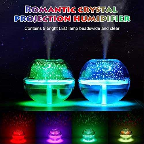 VJUKUBWINE USB Colorful LED Projector Light Humidifier Crystal Projection Lamp Night Lamp,Silver
