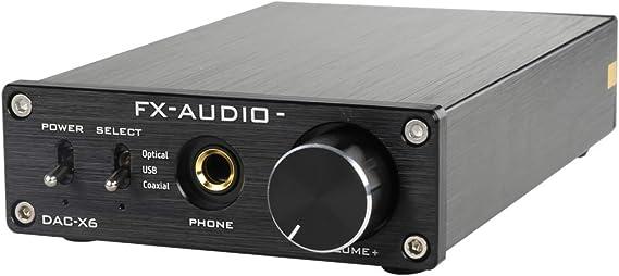 FX-Audio DAC-X6 Mini HiFi 2.0 Digital Audio Decoder DAC Input USB/Coaxial/Optical Output RCA/ Headphone Amplifier 24Bit/96KHz DC12V (Black)