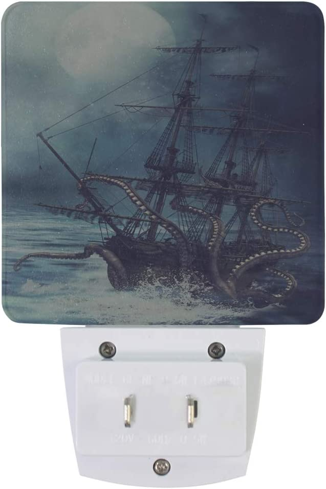 Night Light Lamp Emergency Lighting with Dusk to Dawn Automatic Sensor for Hallway Bedroom Bathroom Kitchen 2 Pack Naanle Nautical Octopus Ships LED Plug-in Night Light