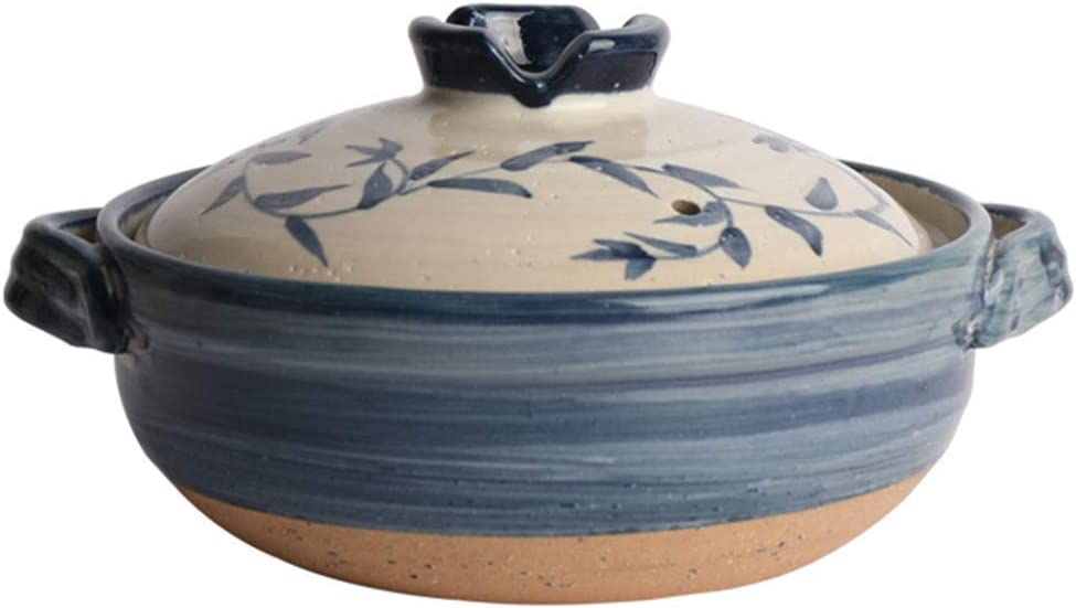 AGGF Japanese Donabe Ceramic Hot Pot Casserole,Bank Earthenware Clay Pot,Round Casserole Dish,Heat-Resistant Soup Pot,Health Slow Cooker for Stewing Rice B 2.2l