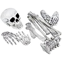 Halloween Haunters 12 Piece Bag of Plastic Skeleton Skull Bones Prop Decoration - Scary Graveyard Human Body Parts Set - Hands, Feet, Legs