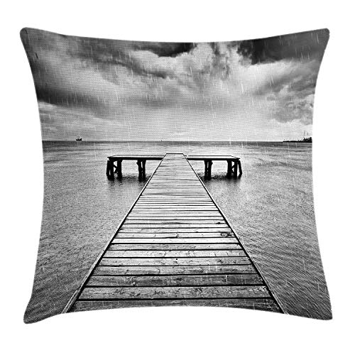 Fun Qiaoya Black and White Throw Pillow Cushion Cover, Old Wooden Pier on The Sea Dramatic Sky Heavy Clouds Rainy Weather, Decorative Square Accent Pillow Case, 18 X 18 inches, Black and White]()