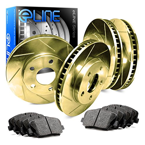 [2004-2011 Mazda RX-8 Full Kit Gold Slotted Brake Disc Rotors & Ceramic Brake Pad] (Rx 8 Rear Brake)