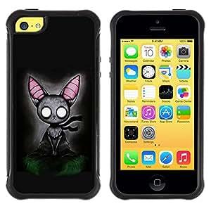All-Round híbrido Heavy Duty de goma duro caso cubierta protectora Accesorio Generación-II BY RAYDREAMMM - Apple iPhone 5C - Cat Grey Feline Witch Fairytale Art Big Ears