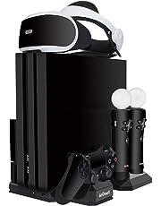 Aggiornata ieGeek Supporto di Ricarica PSVR, [Tutto-In-1] PS4 Pro / PS4 Slim / PS4 Supporto Verticale per PlayStation VR, Ventola, PS Move Controller PS4 DualShock 4 Caricatore / Stazione di Ricarica