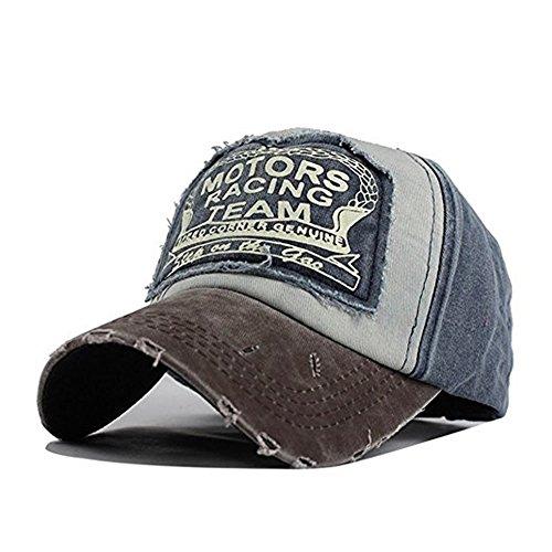 0c792d70296dd Xuzirui Vintage Washed Denim Cotton Motors Racing Team Baseball Cap  Motorcycle Patchwork Hat Dad Hat