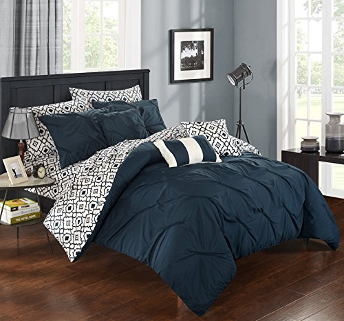 Chic Home CS1946-AN 10 Piece Sabrina Pinch Pleated, Ruffled And Pleated Printed Reversible Complete Bed In A Bag Comforter Set With Sheet Set, Queen, Navy