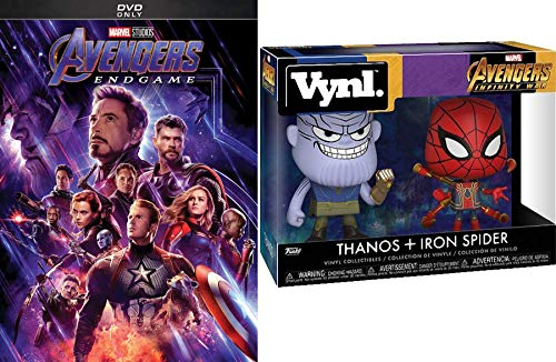 Hero Climax End Game Avengers DVD (Vynl Figures + DVD Bundle) Marvel's Engame Movie + Avengers Infinity War Thanos & Iron Spider Collectible set