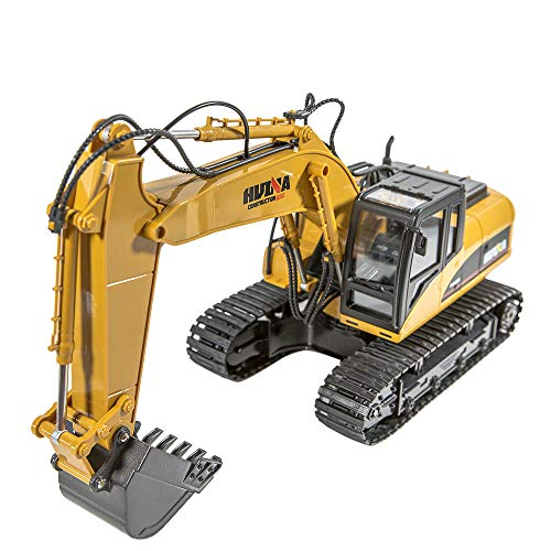 Inkach RC Excavator Toys, Remote Control Bulldozer Tractor City Construction Vehicle, Radio Control Truck Gift (Yellow)