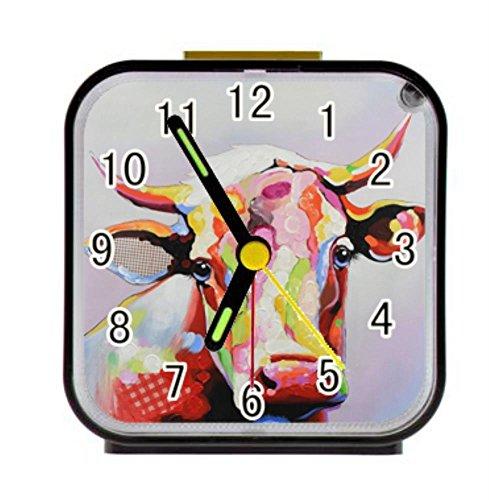 Bernie Gresham Colorful Cow Personalized Custom Alarm Clock for Children Bedroom Custom Square Black Alarm Clock
