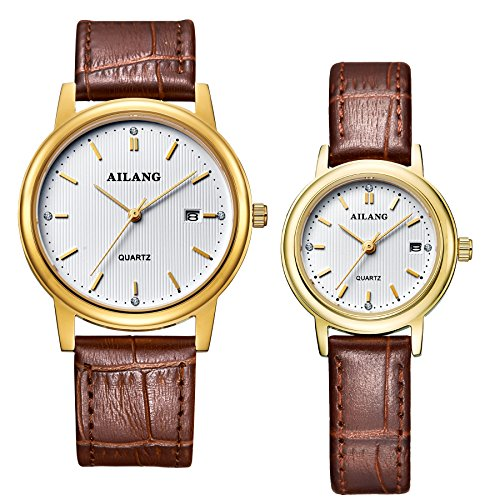 AILANG Leather Simple Quartz Wrist Watch for Couple Lovers ,Set of 2,AL-8801G (Brown / Gold) by Ailang