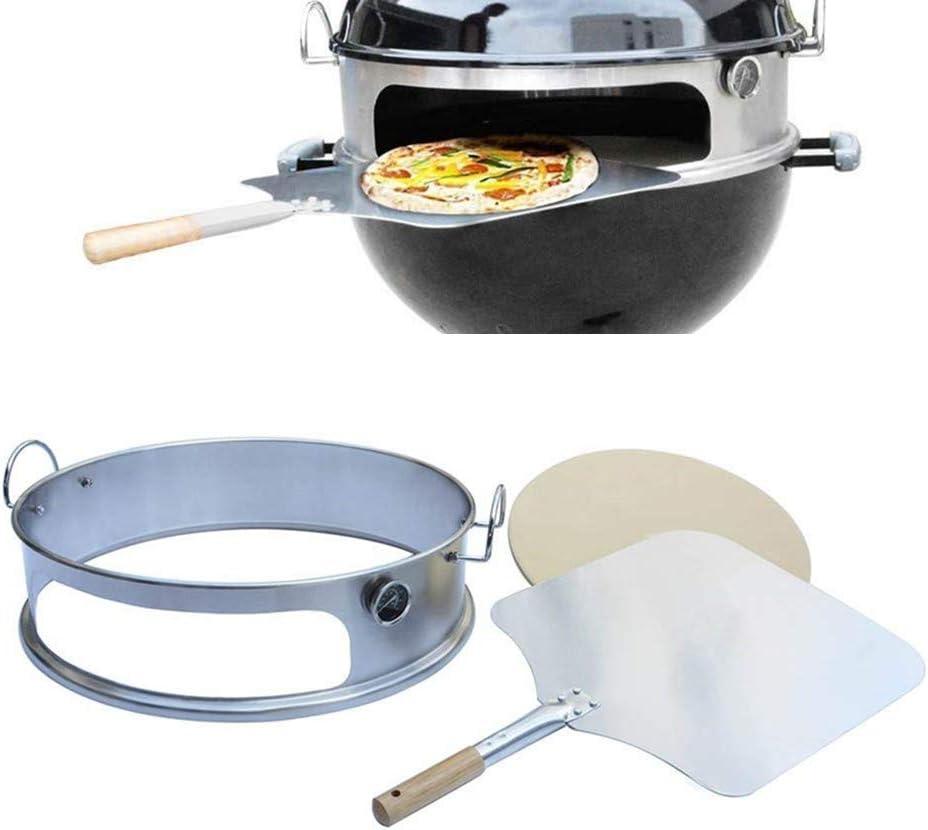 Onlyfire BRK-6023 inox pizza horno paquete completo PizzaRing para Weber 57 cm parrilla hervidor de agua y muchos otros modelos, pizza para carbón de leña parrilla hervidor