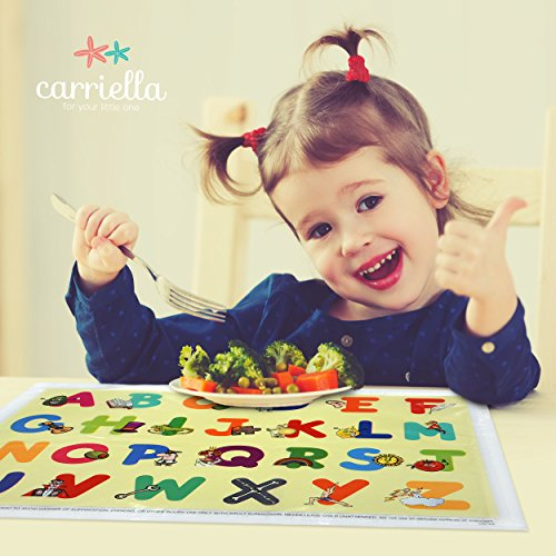 Carriella 60 Count ABC Disposable Placemats for Children Stick on Table Topper by Disposable Placemats (Image #1)