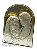 Holy Family Icon Italian Sterling Silver With Gold Holyland 6''