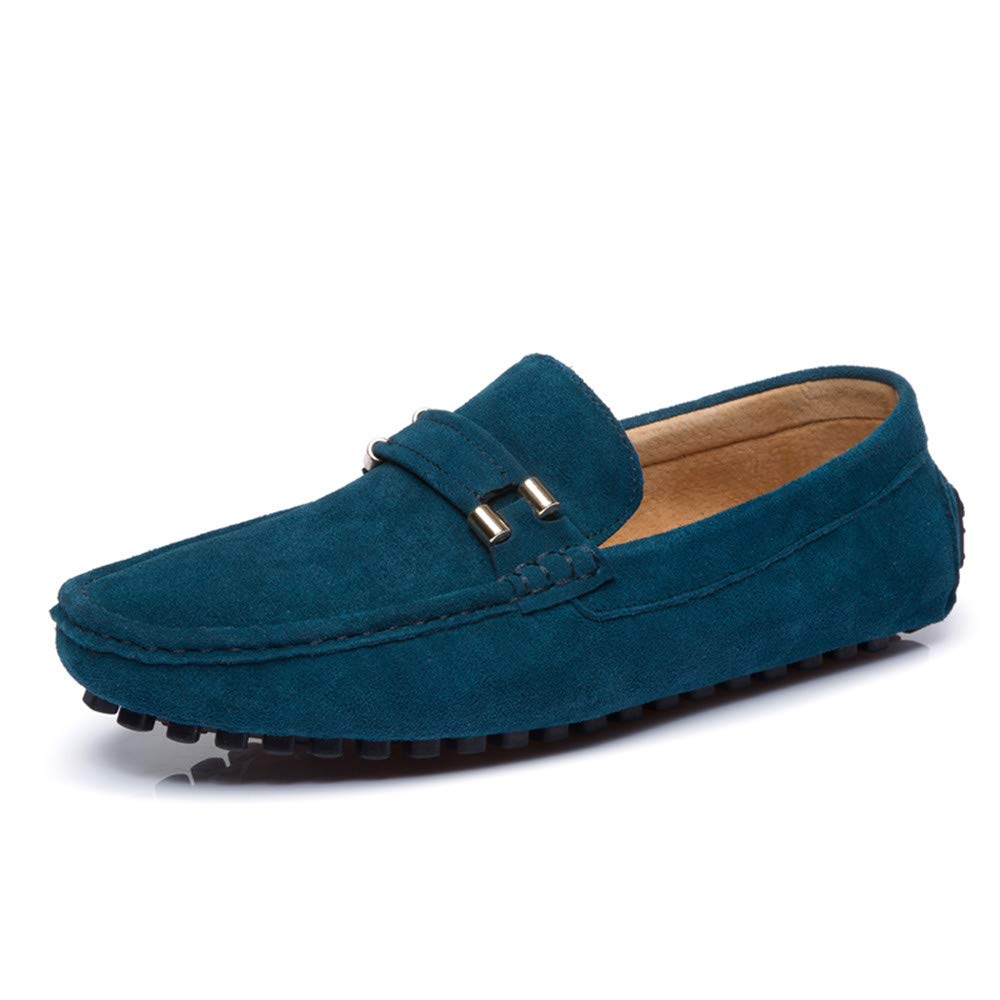 bluee SRY-shoes Men Simple Driving Loafers Casual Classic Autumn Winter Velvet Warm Style Boat Moccasins(Conventional Optional)
