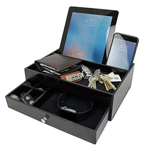Valet Drawer Charging Station – Black Nightstand Organizer and Charger with Valet Tray Holds Watches, Jewelry, Money, Keys – 5 Compartment Dresser Drawer Box Tablet Cell Phone Holder for Men Women