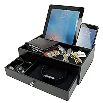Mens Charging Valet Key Tray Night Stand Jewerly Watch Box Organizer for Men as a Black Wood Cell Phone Charging Station