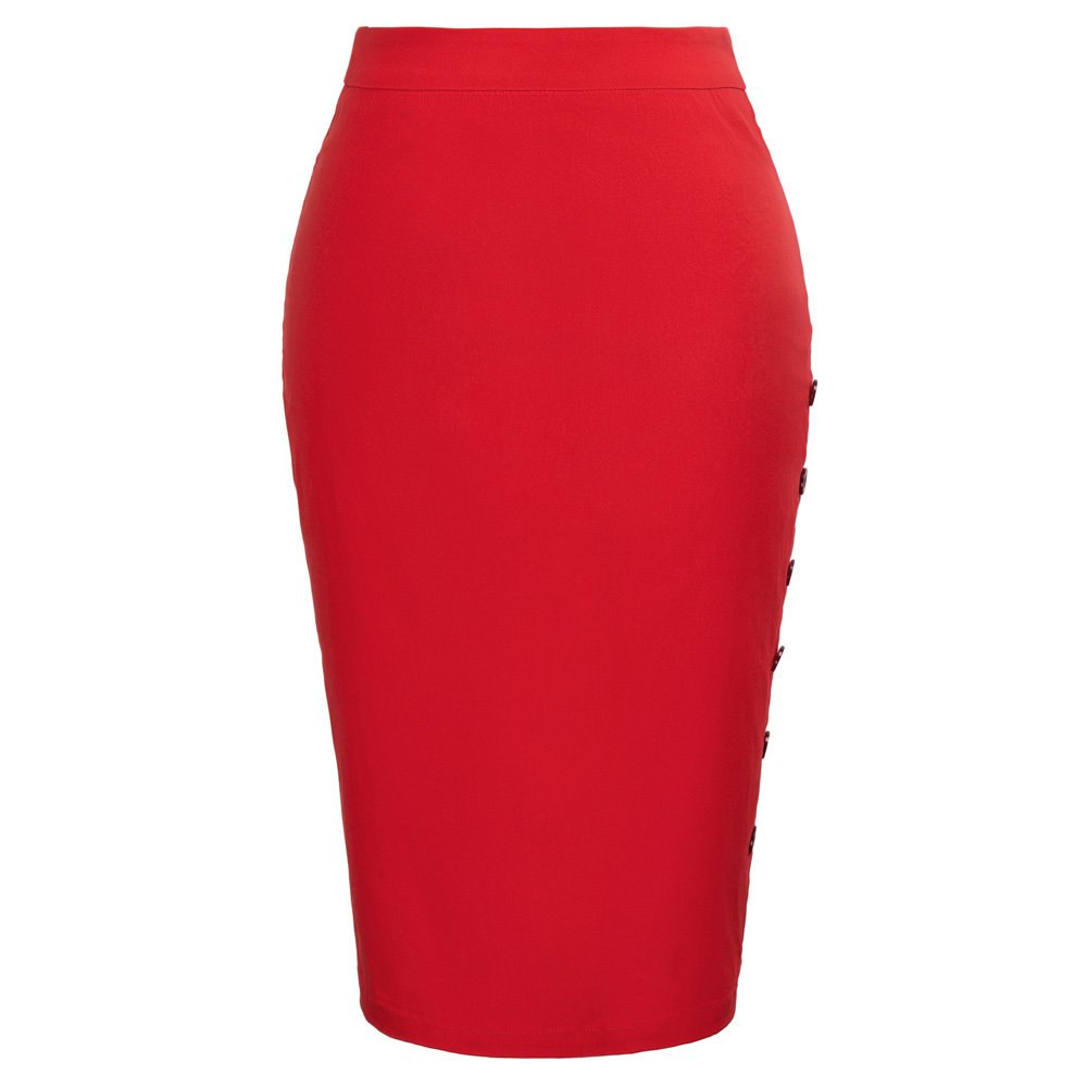 Kate Kasin Women Stretchy Slit Pencil Skirt for Casual Slim Red,S