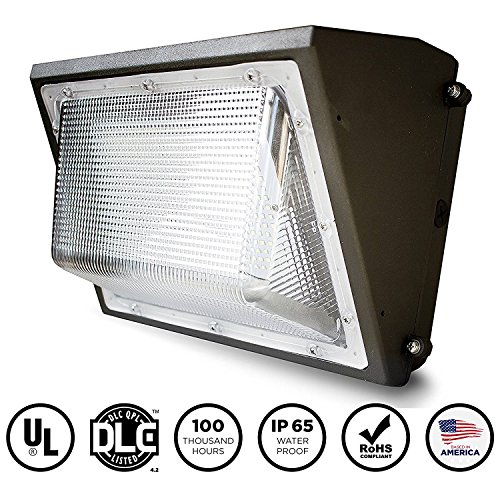 EverWatt LED 80W Wall Pack Outdoor Area Light Fixture, 5000K Natural White, 9850 Lumens, Replacement for 400W-500W Equivalent HPS/HID Wall Lights IP65 Waterproof, UL/DLC Listed, Optional Photocell by EverWatt