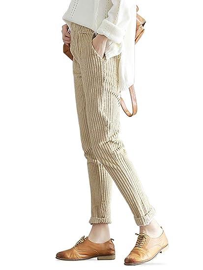 OCHENTA Femme Pantalon Velours Côtelé Cordon de Serrage Automne Pants  Abricot-M 4ff6c92ea46