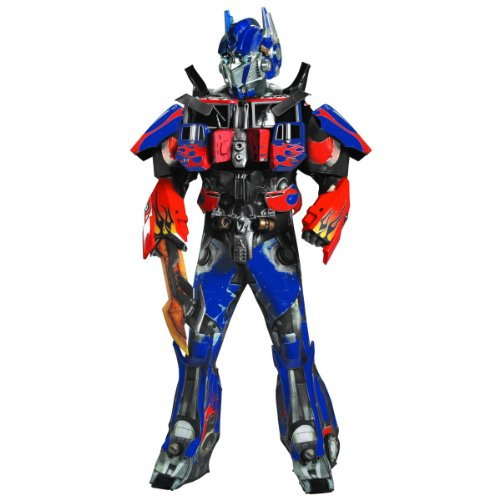 Disguise Men's Hasbro Transformers Age Of Extinction Movie Optimus Prime Theatrical with Vacuform Plus 3D Costume, Blue/Red, X-Large/42-46 ()