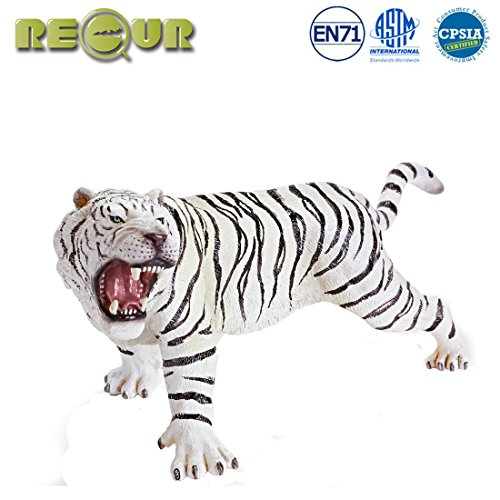 RECUR Toys 10.2inch White Bengal Tiger Action Figure Toys, Soft Hand-Painted Skin Texture Figurines Toys for Kids - 1:15 Scale Realistic Design Wild Life Tiger Replica, Ideal for Collectors, Ages 3+ ()