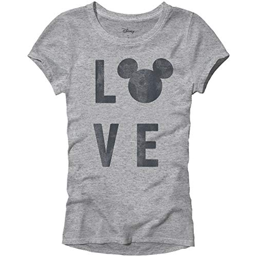 Disney Mickey Mouse Love Head Silhouette Womens Juniors Graphic Tee T-Shirt(Heather Grey,Large) ()
