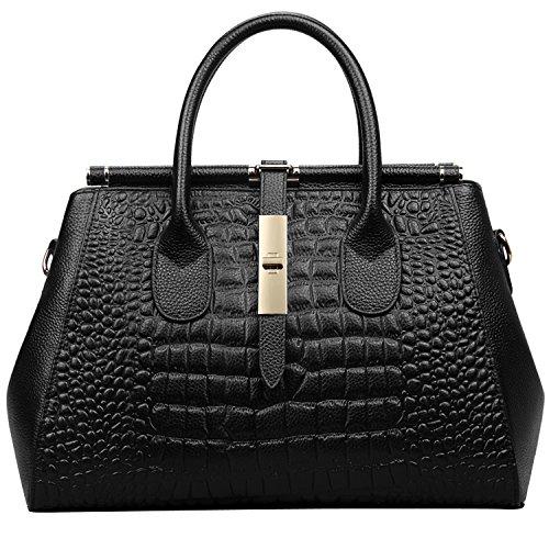 Jack&Chris Ladies Top Handle Tote Bag for Women Crocodile Embossed Purses and Handbags on Clearance, WBDZ024 (SP-Black) by Jack&Chris (Image #1)