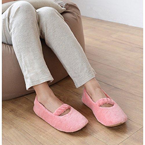 Hausschuhe DWW-Taihewen Firms Slip-On Baumwolle Weiche Dame Rosa Atmungsaktive Schuhe Pink