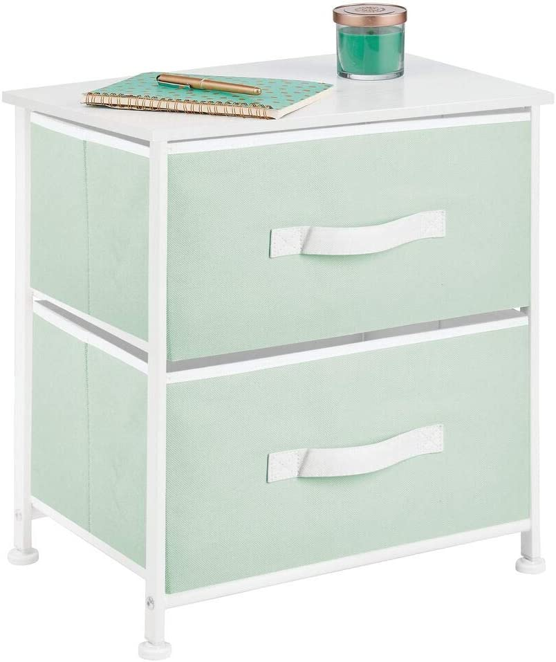 mDesign End Table/Night Stand Storage Tower - Sturdy Steel Frame, Wood Top, Easy Pull Fabric Bins - Organizer Unit for Bedroom, Hallway, Entryway, Closets - Textured Print, 2 Drawers - Mint/White