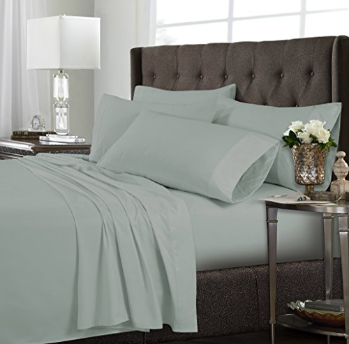 Tribeca Living 120MFSHEETKISA Ultra-Soft Solid Deep Pocket 6-Piece Sheet Set, King, Sage Green ()