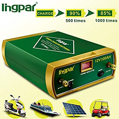 Ingpar 12v 100ah rechargeable Lithium Battery for Use with Pv Solar Panels,Smart chargers wind Turbine and Inverters