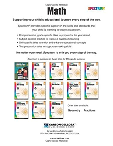 Math Worksheets free printable math worksheets 5th grade : Spectrum Math Workbook, Grade 5: Spectrum: 9781483808734: Amazon ...