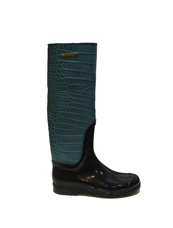 DOLCE & GABBANA Teal Blue Crocodile Print Rain Boots 7